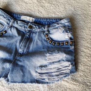 Zara TRF | Studded and Distressed Jean Shorts